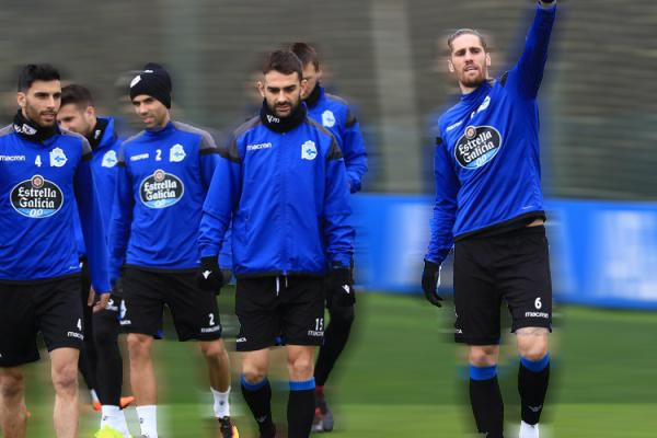 Entrenamiento del Deportivo y su defensa